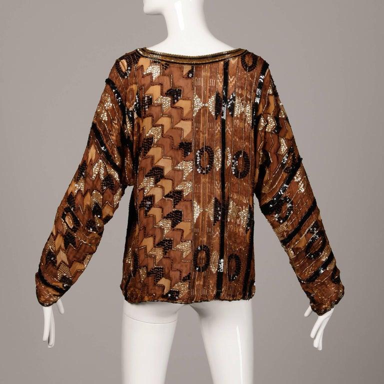 Women's Judith Ann Vintage Sequin + Beaded Brown Block Printed Silk Top or Shirt For Sale