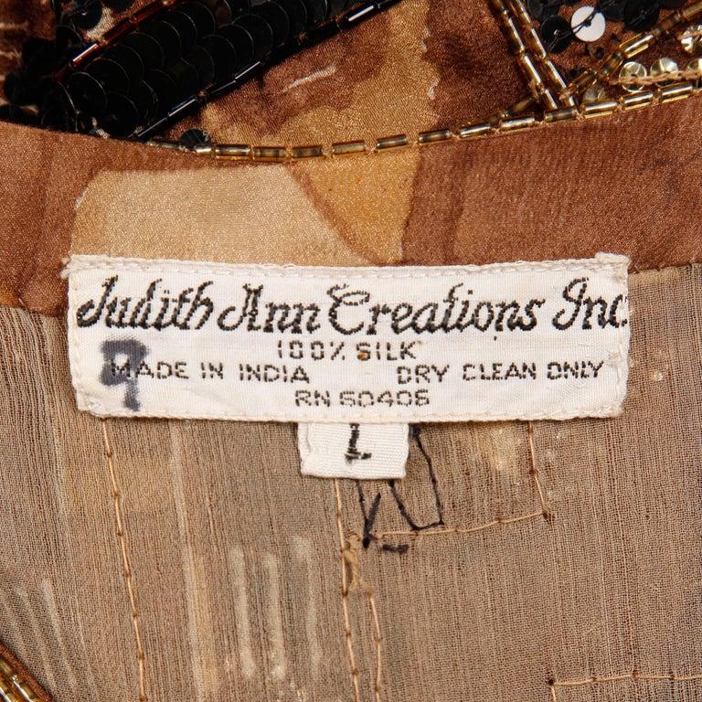 Judith Ann Vintage Sequin + Beaded Brown Block Printed Silk Top or Shirt For Sale 3