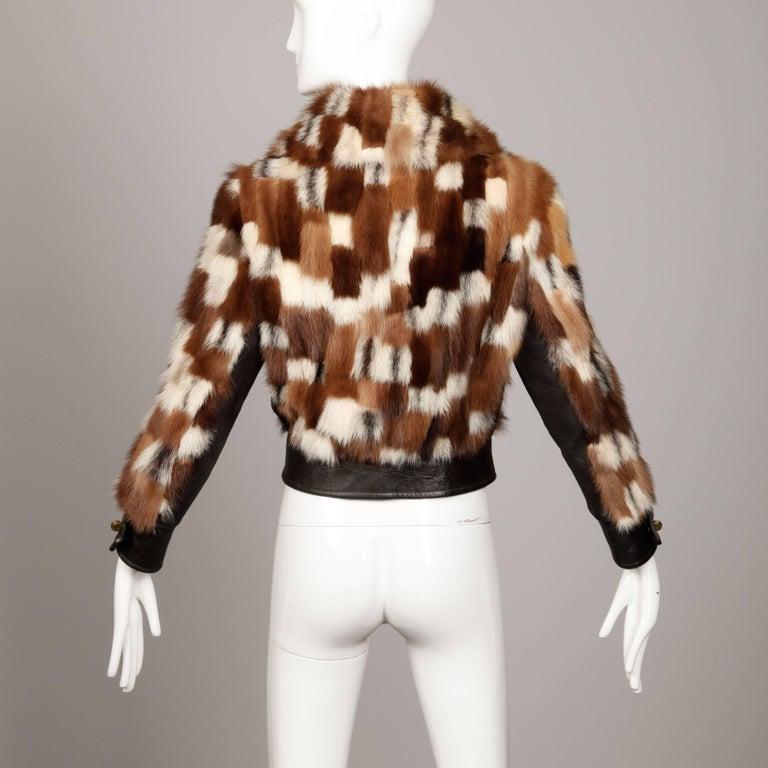 1970s Vintage Patchwork Multicolor Mink Fur + Brown Leather Jacket For Sale 1