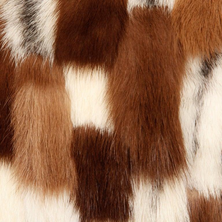 Women's 1970s Vintage Patchwork Multicolor Mink Fur + Brown Leather Jacket For Sale