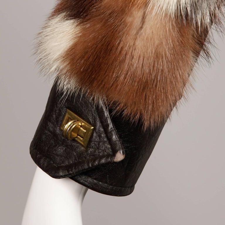1970s Vintage Patchwork Multicolor Mink Fur + Brown Leather Jacket For Sale 2