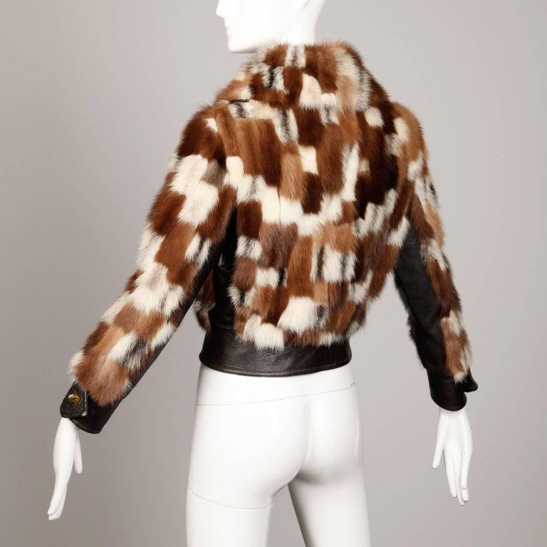 1970s Vintage Patchwork Multicolor Mink Fur + Brown Leather Jacket For Sale 3