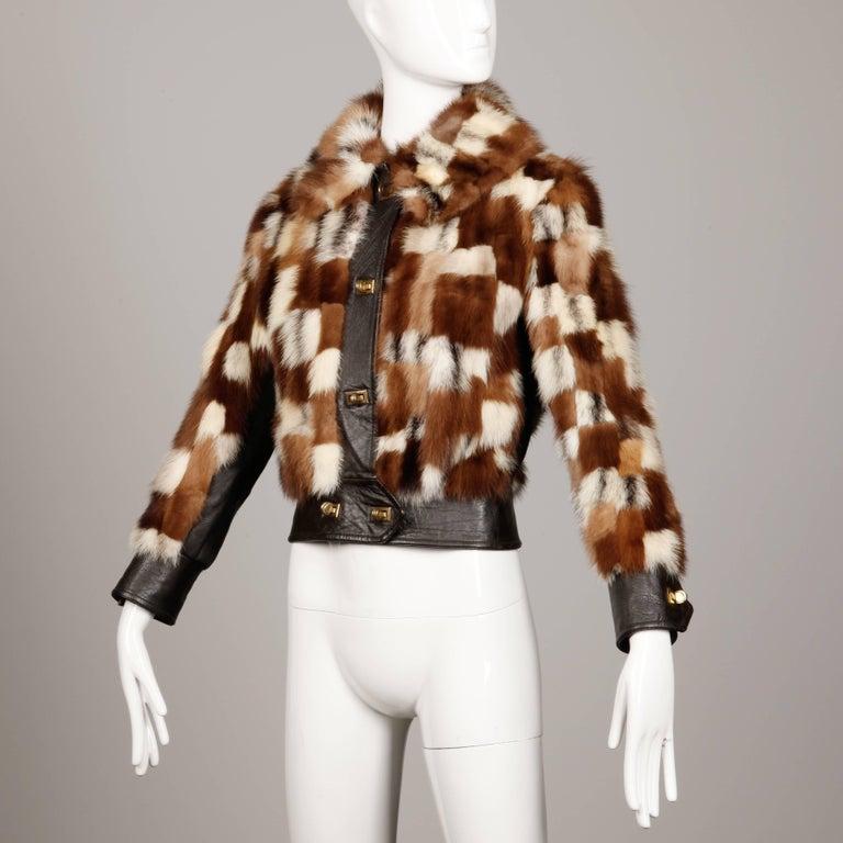 1970s Vintage Patchwork Multicolor Mink Fur + Brown Leather Jacket In Excellent Condition For Sale In Sparks, NV