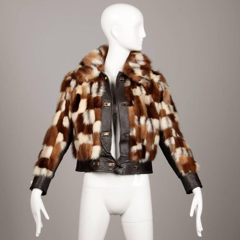 1970s Vintage Patchwork Multicolor Mink Fur + Brown Leather Jacket For Sale 5