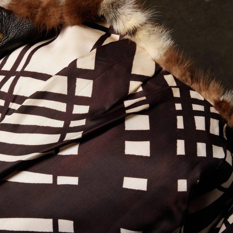 1970s Vintage Patchwork Multicolor Mink Fur + Brown Leather Jacket For Sale 4