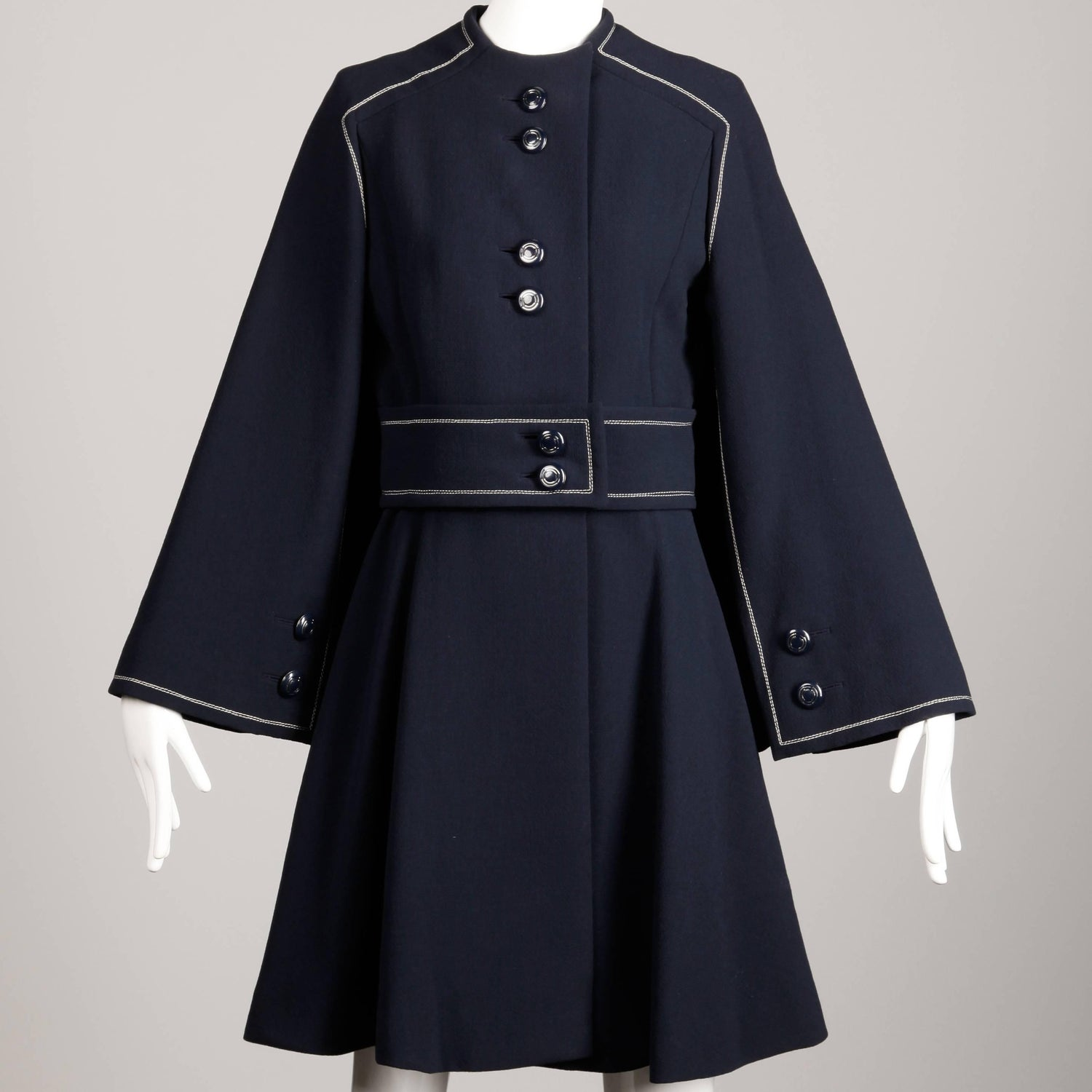 Convertible 1960s Ronald Amey Demi-Couture Vintage Wool + Silk Cape Dress  Coat For Sale at 1stdibs 16eec71b77
