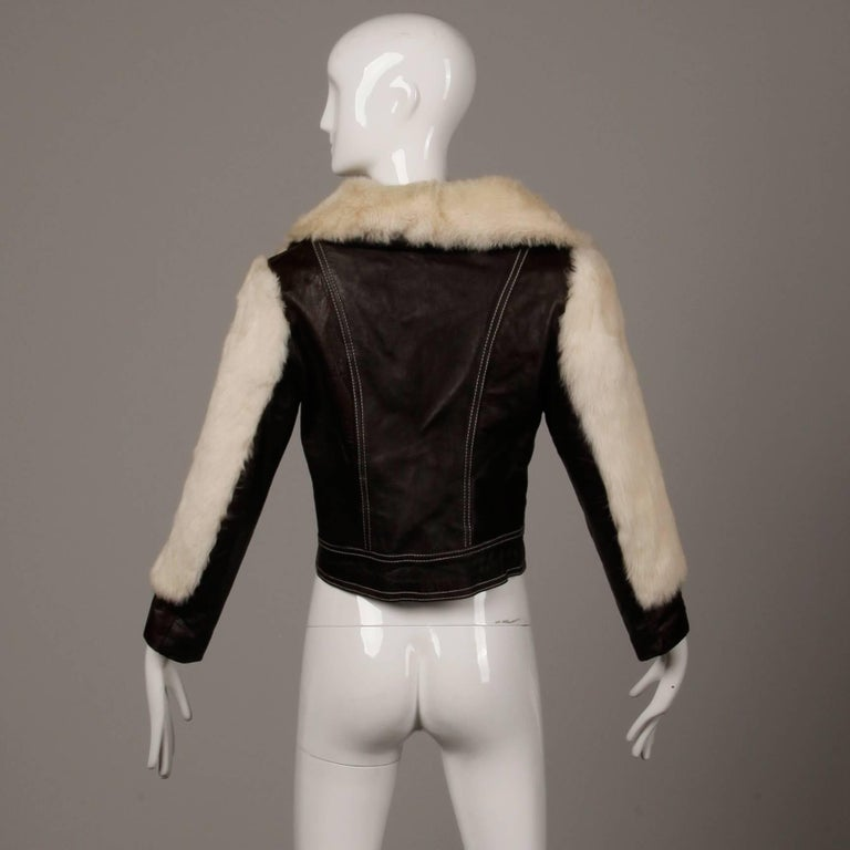1970s Vintage Brown Leather Jacket with White Rabbit Fur In Excellent Condition For Sale In Sparks, NV