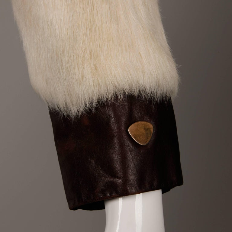 1970s Vintage Brown Leather Jacket with White Rabbit Fur For Sale 1