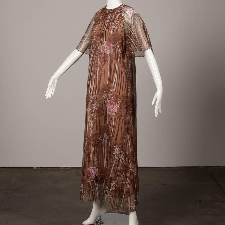 1970s Hanae Mori Vintage Flower + Tree Print Maxi Dress with Flutter Sleeves In Excellent Condition For Sale In Sparks, NV