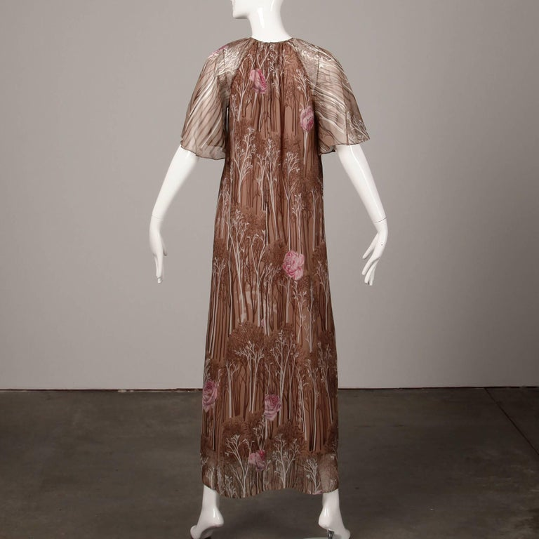 1970s Hanae Mori Vintage Flower + Tree Print Maxi Dress with Flutter Sleeves For Sale 1