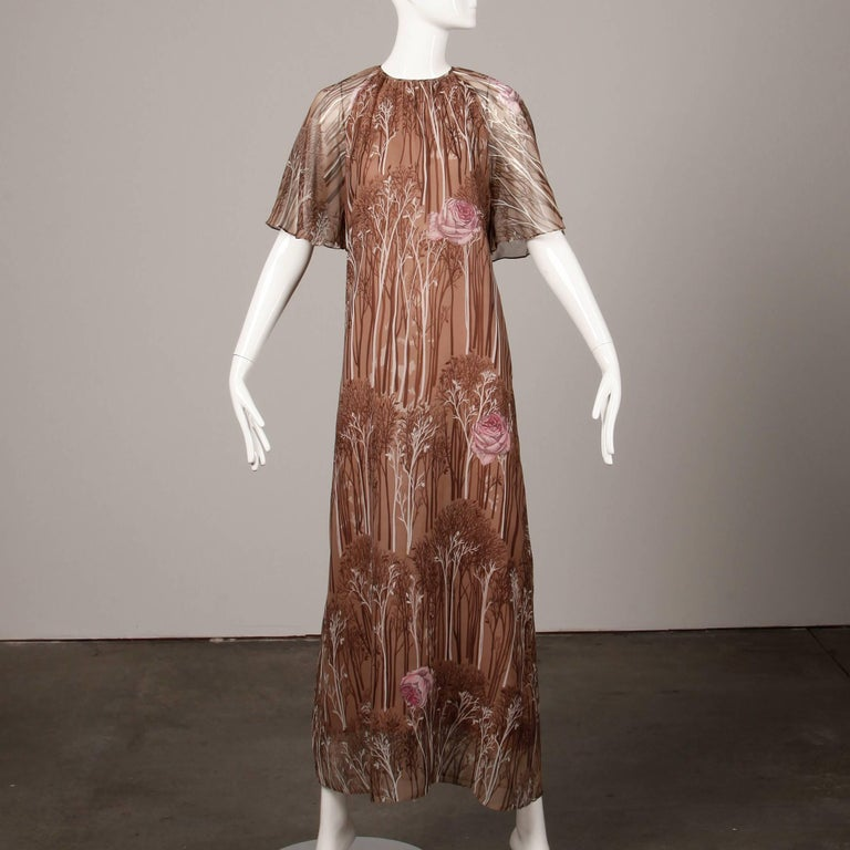 Brown 1970s Hanae Mori Vintage Flower + Tree Print Maxi Dress with Flutter Sleeves For Sale
