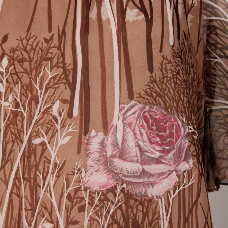 Women's 1970s Hanae Mori Vintage Flower + Tree Print Maxi Dress with Flutter Sleeves For Sale