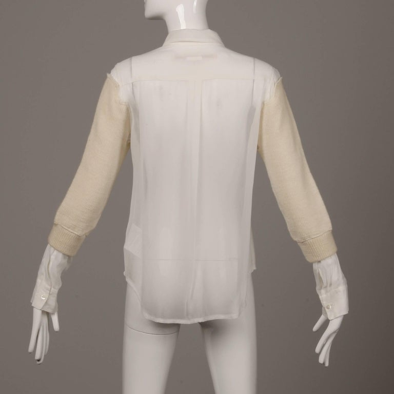 Comme des Garcons White Button Up Blouse Top/ Shirt with Cream Wool Knit Sleeves For Sale 2