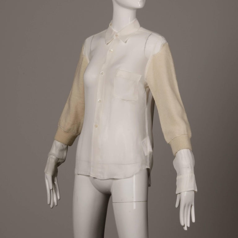 Women's Comme des Garcons White Button Up Blouse Top/ Shirt with Cream Wool Knit Sleeves For Sale