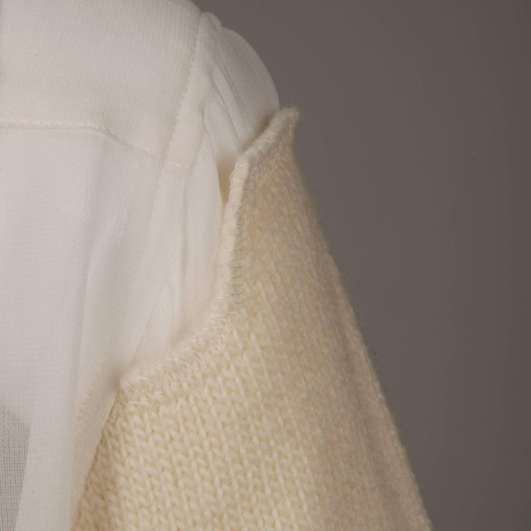 Comme des Garcons White Button Up Blouse Top/ Shirt with Cream Wool Knit Sleeves For Sale 1