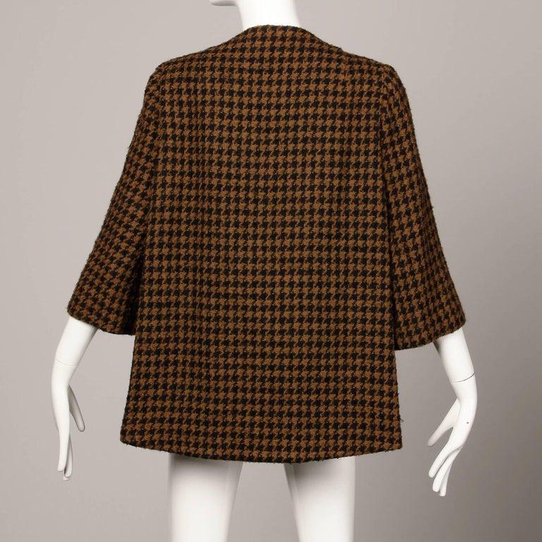 1960s Mr. Blackwell Custom Vintage Black + Brown Houndstooth Wool Jacket or Coat For Sale 4