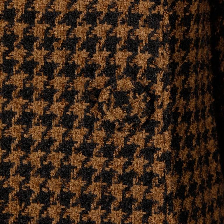 1960s Mr. Blackwell Custom Vintage Black + Brown Houndstooth Wool Jacket or Coat For Sale 1
