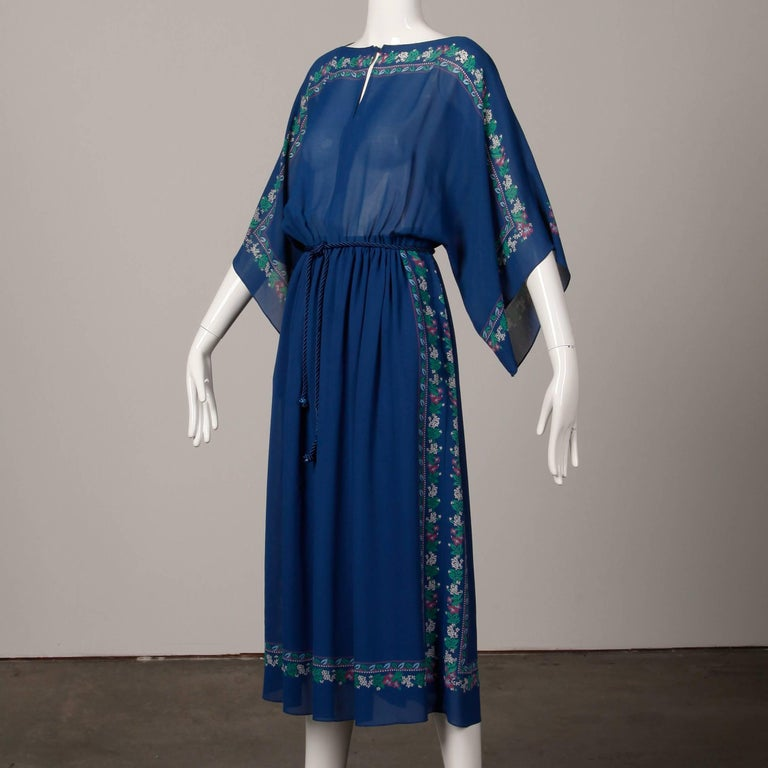 Women's 1970s Hanae Mori Vintage Blue Floral Print Midi Dress with Kimono Angel Sleeves For Sale