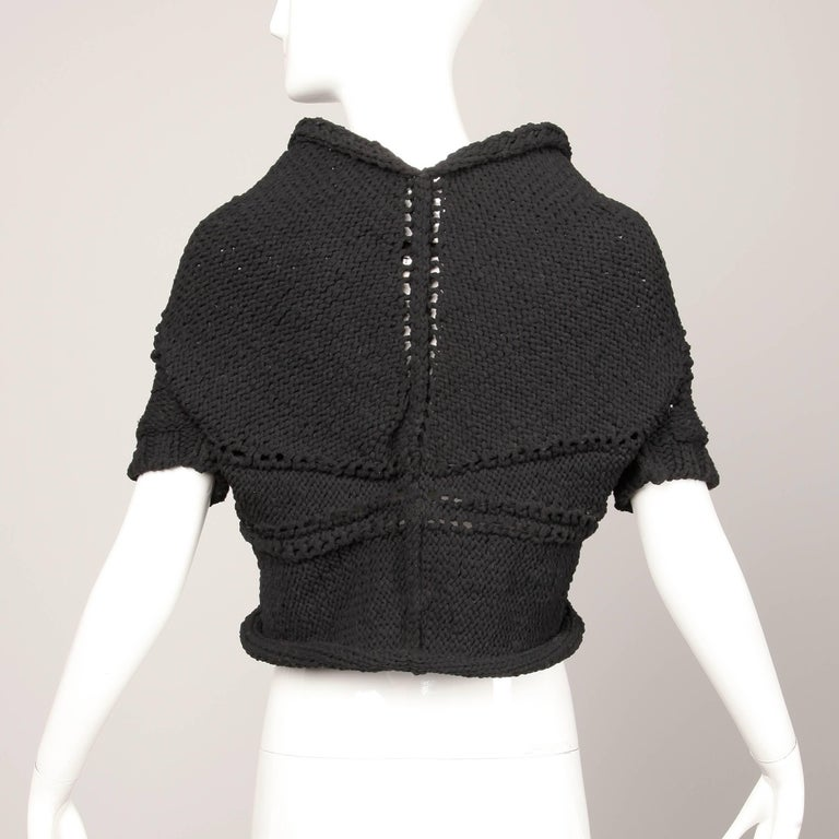 Junya Watanbe Comme des Garcons Avant Garde Black Wool Knit Sweater Top For Sale 1