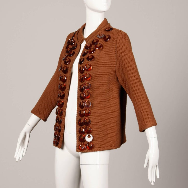 Women's 1960s Vintage Ethel Beverly Hills Brown 100% Wool Knit Rings Cardigan Sweater  For Sale