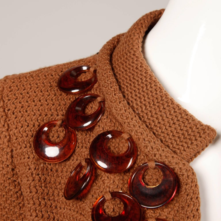 1960s Vintage Ethel Beverly Hills Brown 100% Wool Knit Rings Cardigan Sweater  For Sale 1