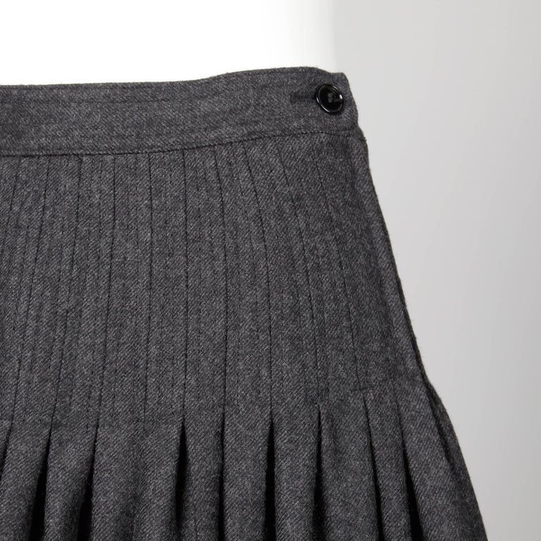 510520a733 Women's Valentino Vintage Gray Wool + Cashmere Pleated Fit + Flare Midi  Skirt For Sale
