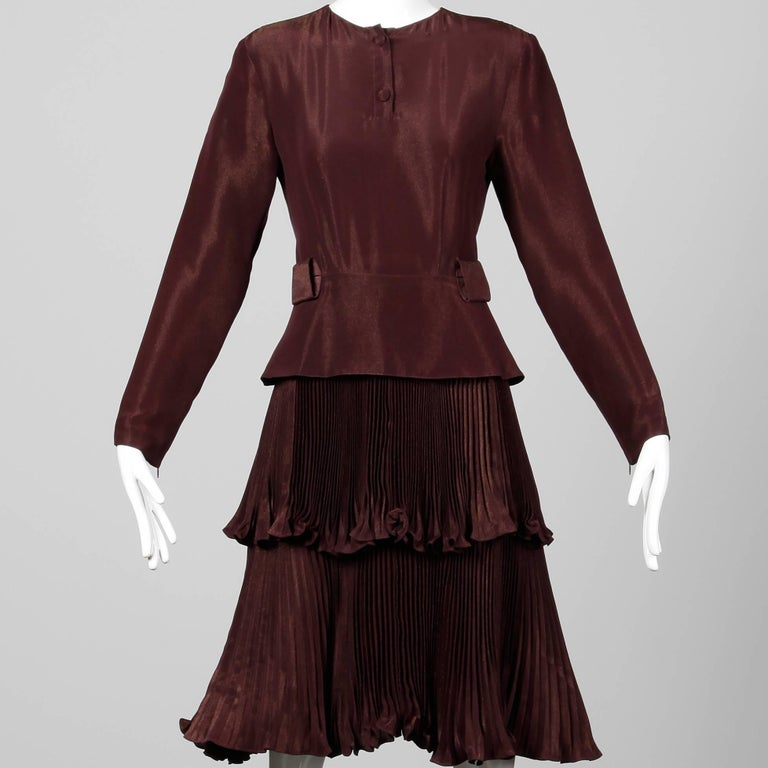1980s Bernard Perris Vintage Brown Copper Metallic Pleated Dress For Sale 1
