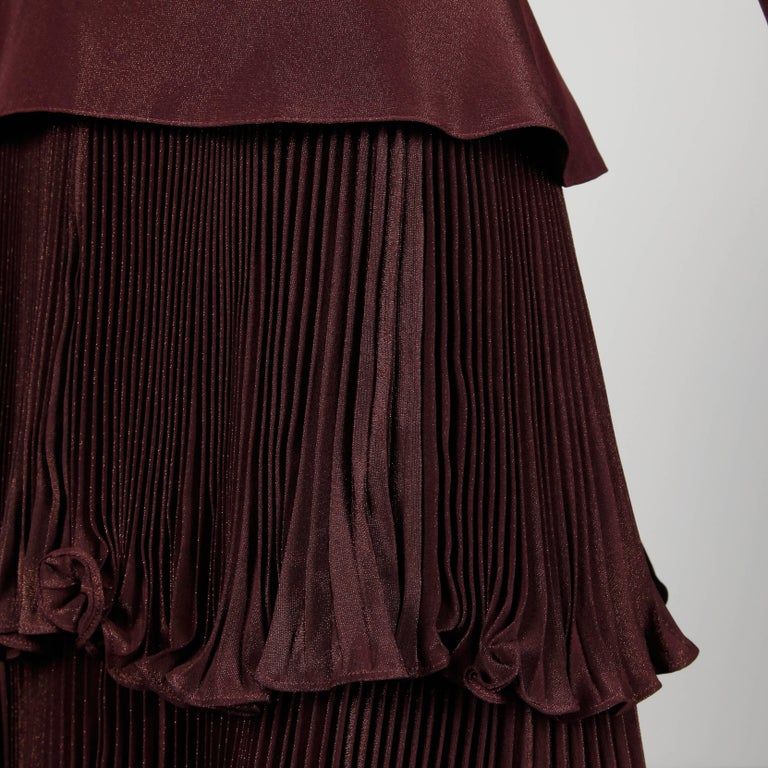 Women's 1980s Bernard Perris Vintage Brown Copper Metallic Pleated Dress For Sale