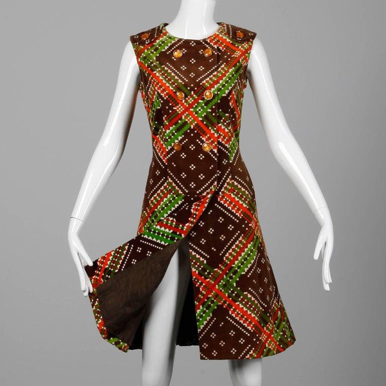 Brown 1970s Malcolm Starr- Attributed Vintage Op Art Geometric Printed Velvet Dress For Sale
