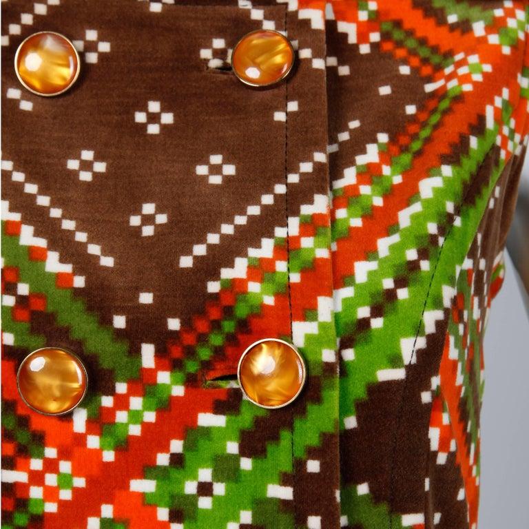 1970s Malcolm Starr- Attributed Vintage Op Art Geometric Printed Velvet Dress For Sale 1