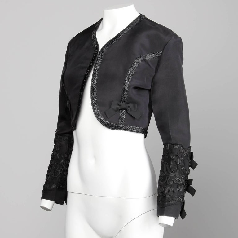 1990s Gemma Kahng Vintage Black Silk Cropped Bolero Jacket with Bow Detail In Excellent Condition For Sale In Sparks, NV