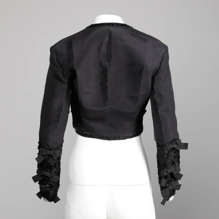 Women's 1990s Gemma Kahng Vintage Black Silk Cropped Bolero Jacket with Bow Detail For Sale