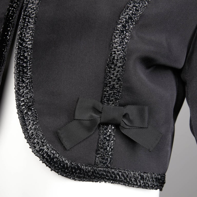 1990s Gemma Kahng Vintage Black Silk Cropped Bolero Jacket with Bow Detail For Sale 1