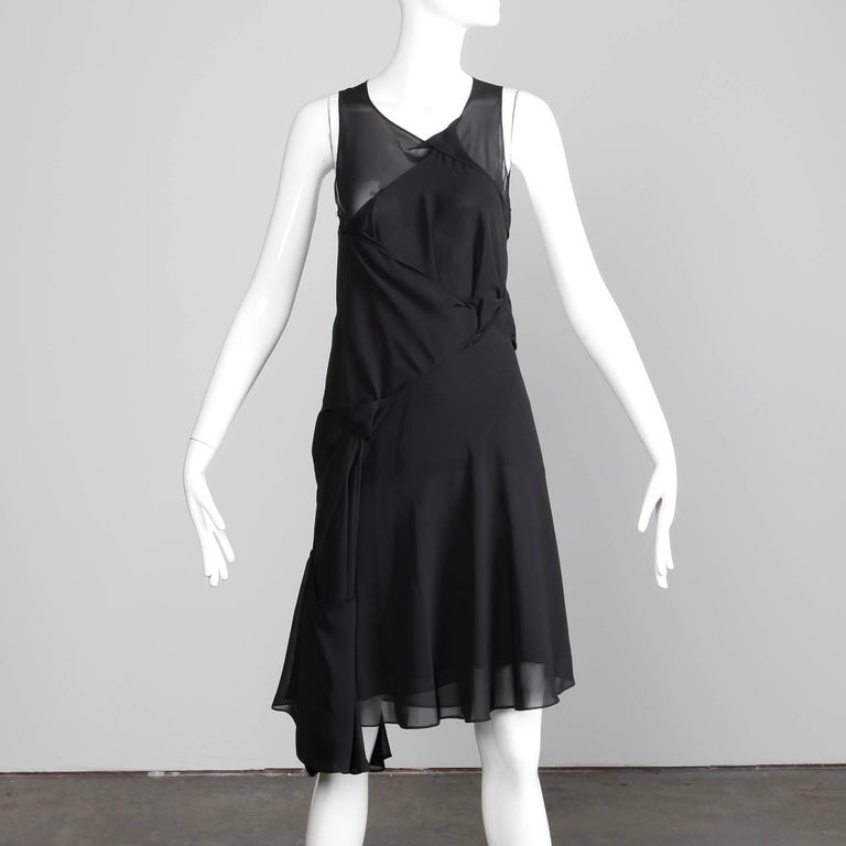 Junya Watanabe Comme des Garcons Avant Garde Black Draped Asymmetric Dress In Excellent Condition For Sale In Sparks, NV