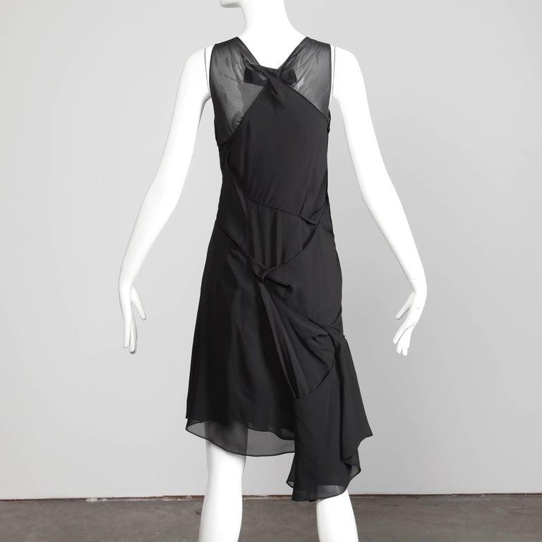 Junya Watanabe Comme des Garcons Avant Garde Black Draped Asymmetric Dress For Sale 1