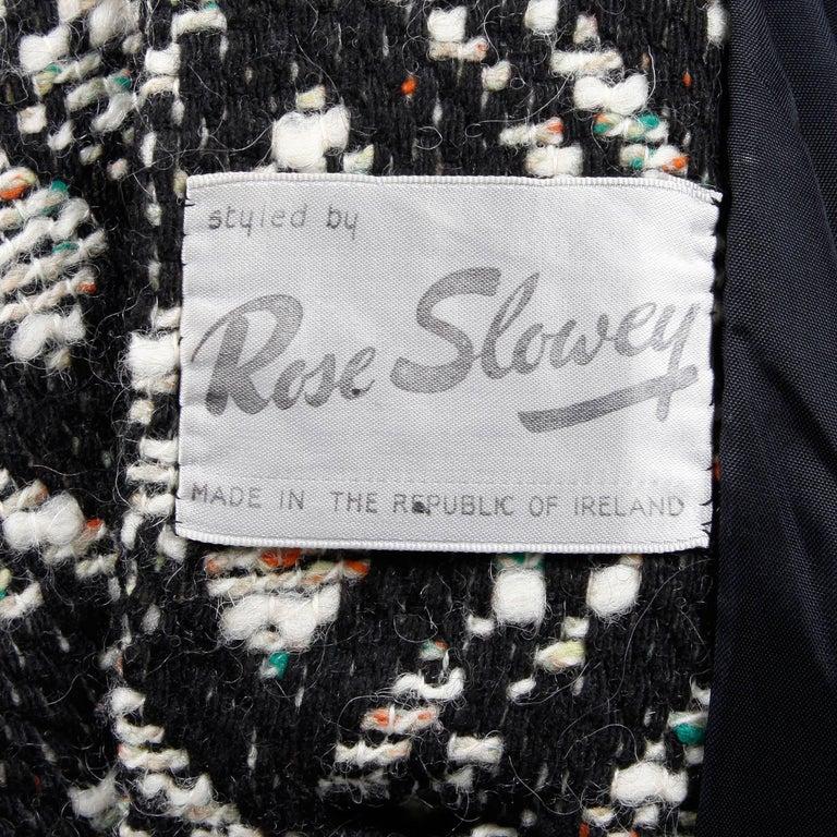 1970s Vintage Black + White Irish Wool Tweed Cape Coat with Fringe Trim For Sale 4