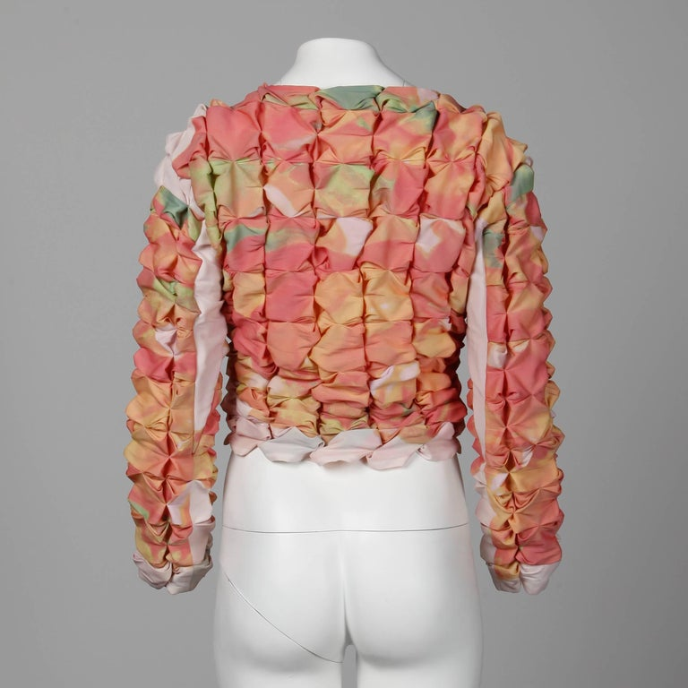 Pink Issey Miyake Vintage Multicolor Pleated 3-D Pucker Jacket or Cardigan For Sale