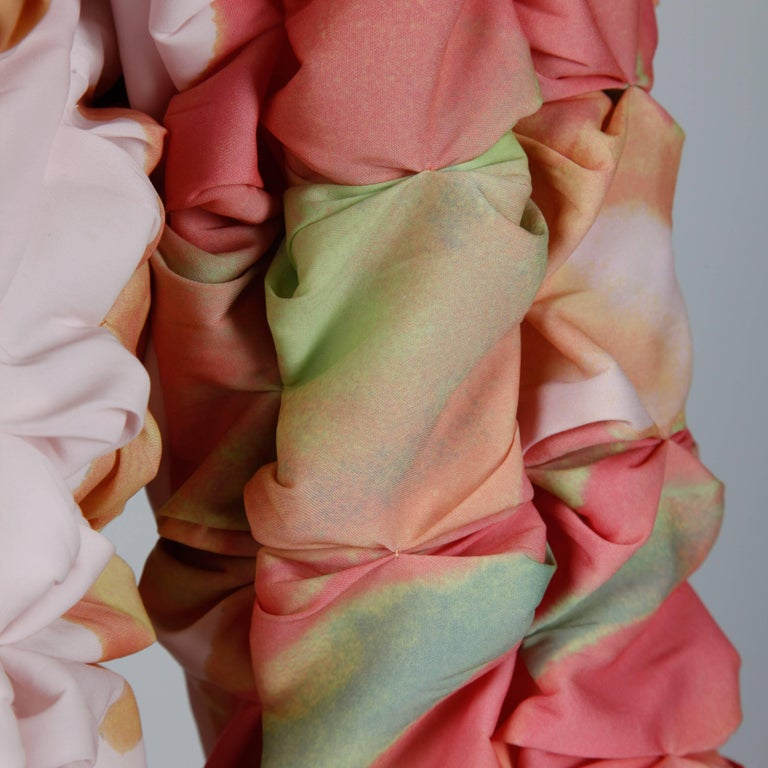 Issey Miyake Vintage Multicolor Pleated 3-D Pucker Jacket or Cardigan In Excellent Condition For Sale In Sparks, NV