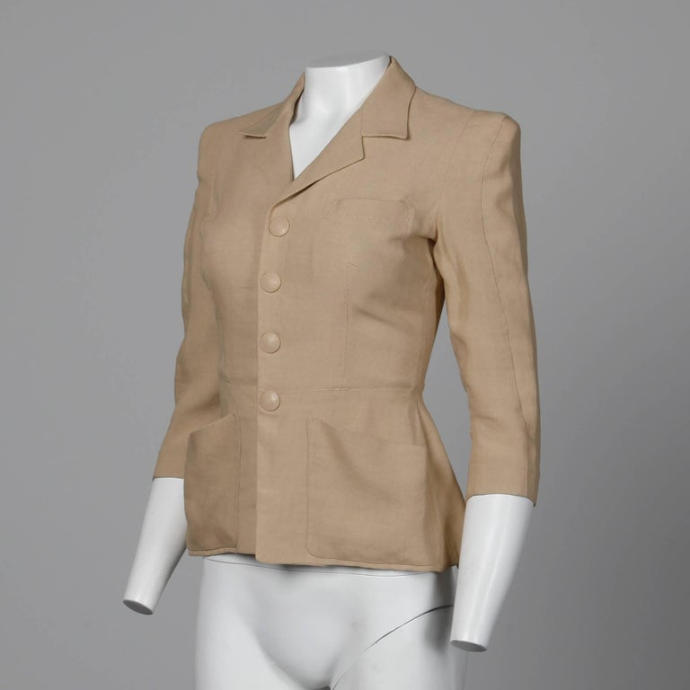 1990s jean paul gaultier femme vintage beige blush blazer jacket for sale at 1stdibs. Black Bedroom Furniture Sets. Home Design Ideas