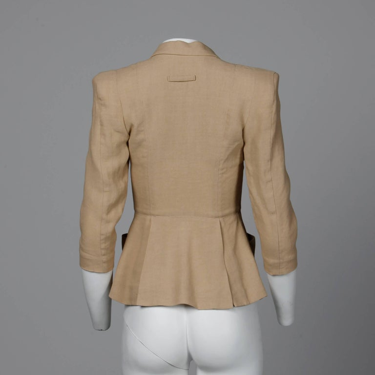 1990s Jean Paul Gaultier Femme Vintage Beige/ Blush Blazer Jacket For Sale 1