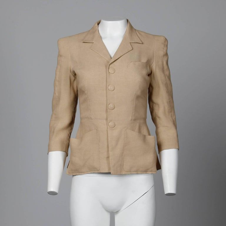 1990s Jean Paul Gaultier Femme Vintage Beige/ Blush Blazer Jacket In Excellent Condition For Sale In Sparks, NV