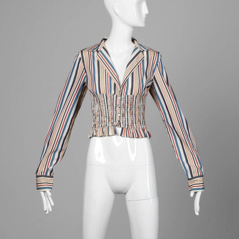 Gray Romeo Gigli Vintage Striped Cotton Button Up Blouse, Shirt or Jacket For Sale