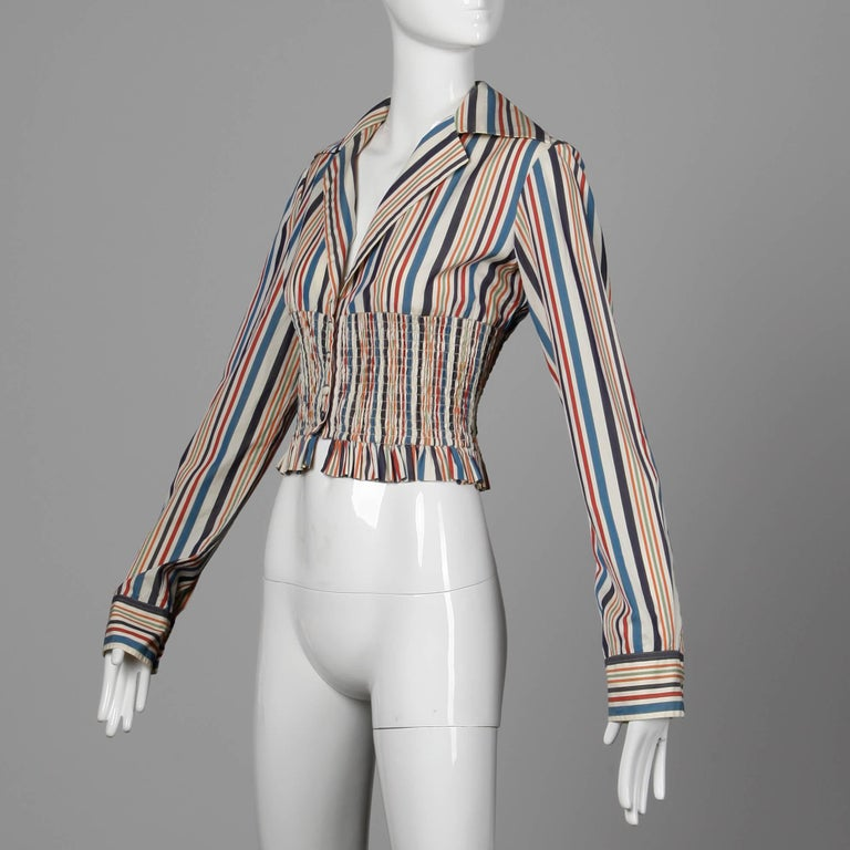 Romeo Gigli Vintage Striped Cotton Button Up Blouse, Shirt or Jacket In Excellent Condition For Sale In Sparks, NV