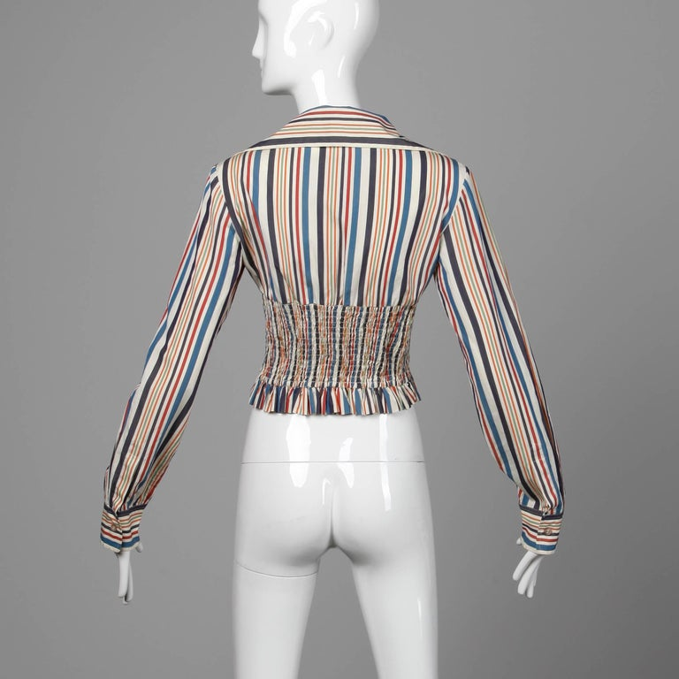 Women's Romeo Gigli Vintage Striped Cotton Button Up Blouse, Shirt or Jacket For Sale