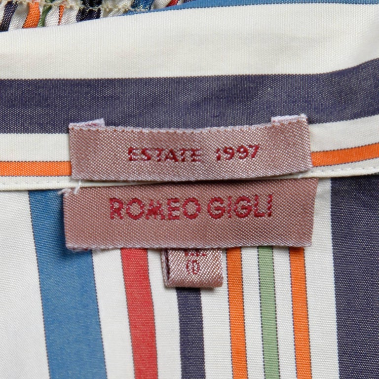 """Romeo Gigli vintage striped cotton button up blouse or jacket. Unlined with front button and hook closure. 100% cotton.  The marked size is 44. Fits like a modern size small. The bust measures 36"""", waist 26-32"""" (unstretched and stretched),"""