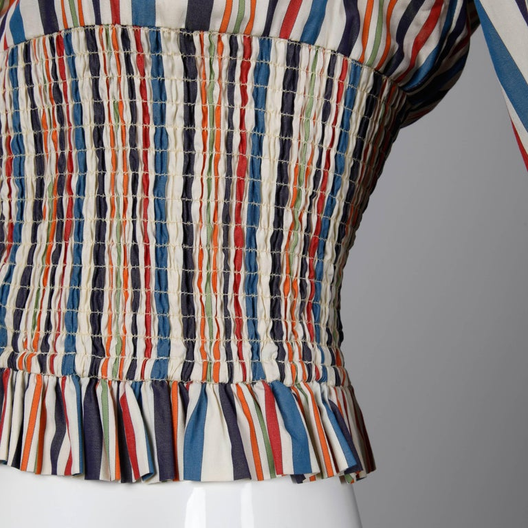 Romeo Gigli Vintage Striped Cotton Button Up Blouse, Shirt or Jacket For Sale 1