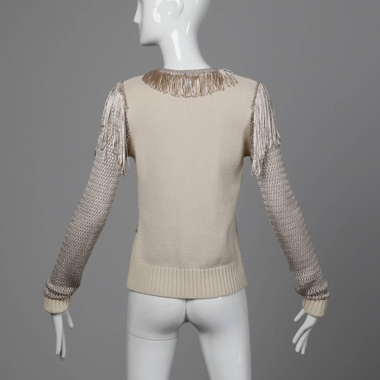 Women's or Men's Christian Lacroix Knit + Crochet Fringe Cardigan Sweater Jacket or Top For Sale