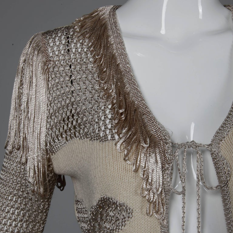 Christian Lacroix Knit + Crochet Fringe Cardigan Sweater Jacket or Top For Sale 1