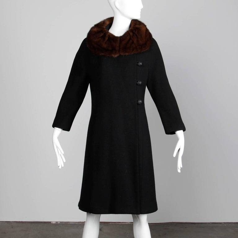 Vintage Black Wool Asymmetric Coat with Brown Mink Fur Collar, 1960s  In Excellent Condition For Sale In Sparks, NV