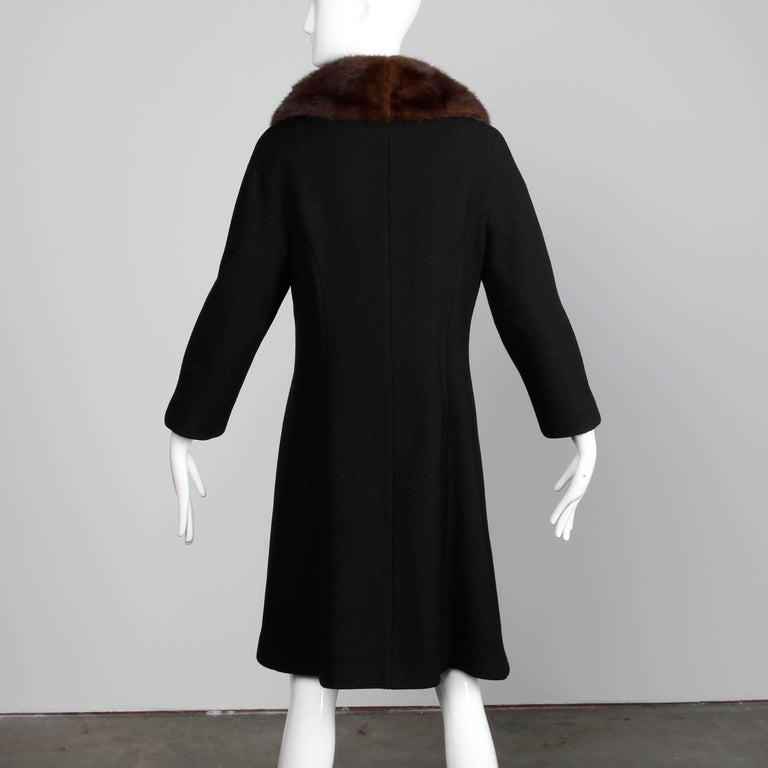 Vintage Black Wool Asymmetric Coat with Brown Mink Fur Collar, 1960s  For Sale 1